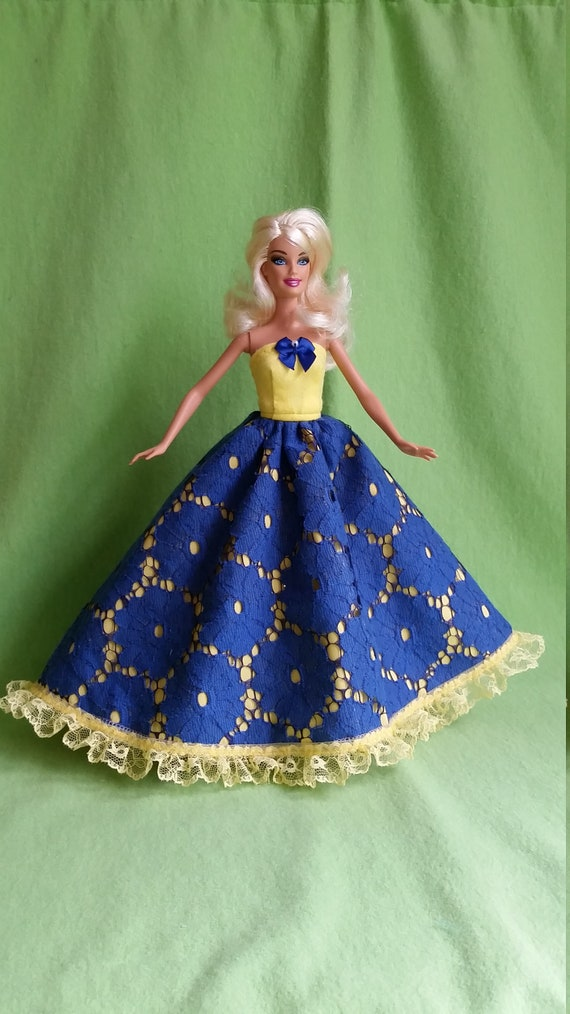 Beautiful Ivory Ball Gown with Flowersw on Lace Made to Fit Barbie Doll