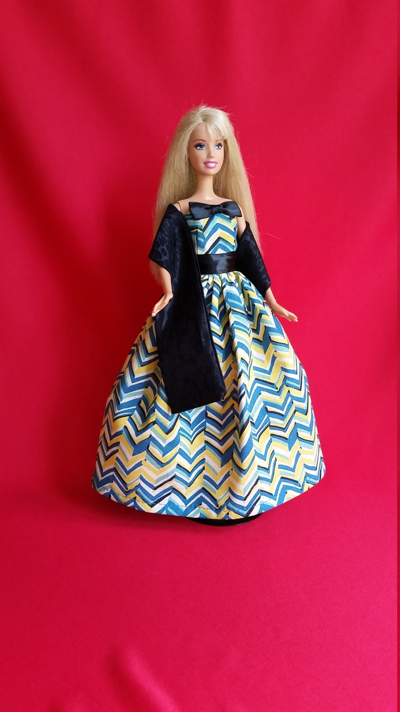 Beautiful Black Gown with Turquoise Bodice Made to Fit Barbie Doll