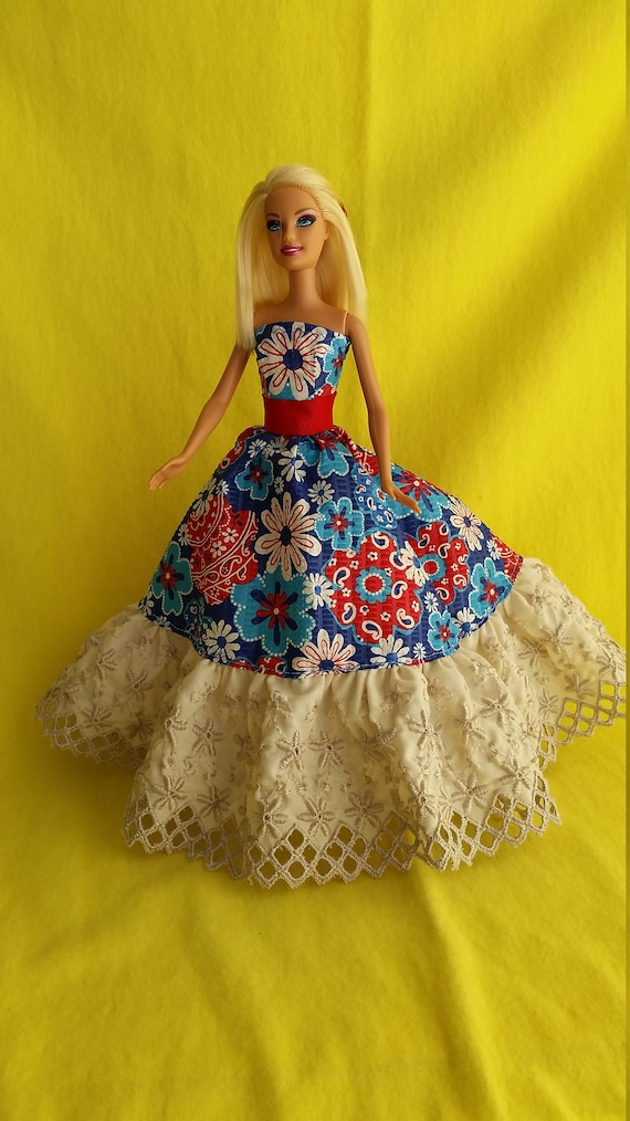 White Ball Gown with Lots of White Ribbon Details Made to Fit Barbie Doll