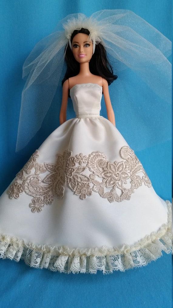 Barbie Wedding Dress Barbie Gown Barbie Dress Barbie Clothes Barbie Doll Clothes Fashion Doll Dress Barbie Barbie Doll