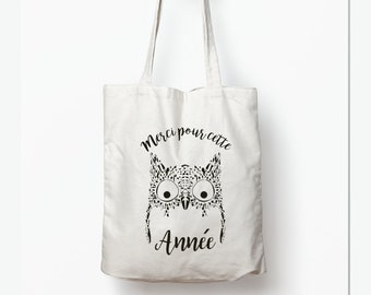 af7a9f807c Personalized bag - thank you for this OWL Tote year - gift teacher gift -  home nanny gift - end of year gift