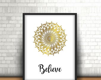Mandala poster mandala - Believe quote poster, wall decor last minute gift-
