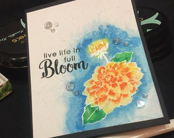 Handmade Card, Hand Stamped Card, Watercolored Card, Handmade Painted Card, Stamped Floral  Card,  Encouragement Card