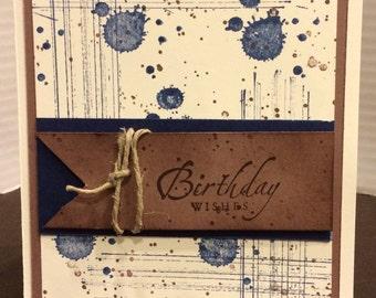 handmade birthday card hand stamped birthday card male