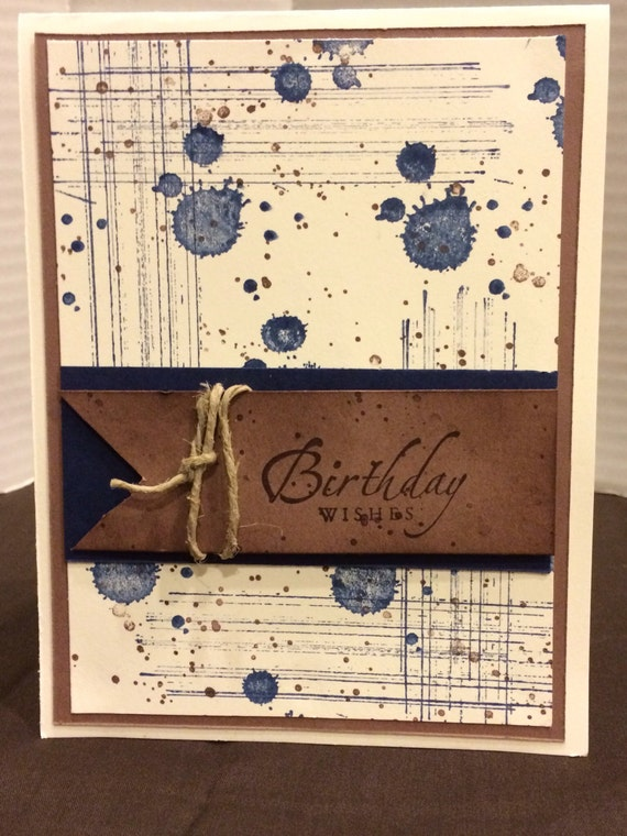 Handmade Birthday Card Hand Stamped Birthday Card Male Etsy