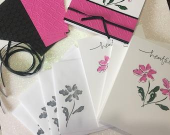 Card Kit, DIY Card Kit, Stamped Card Kit, Thank You Card Kit, Embossed Card Kit, Stampin Up Card Kit, Handmade Card Kit, Floral Card Kit
