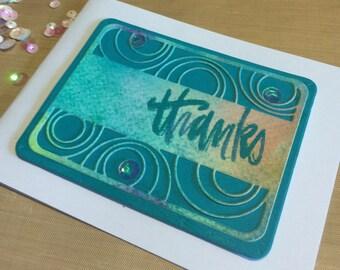 Handmade Card, Hand Stamped Card, Stamped Thank You Card, Stamp of Approval Card , Stamped Thank You Card,  Die Cut Card Card