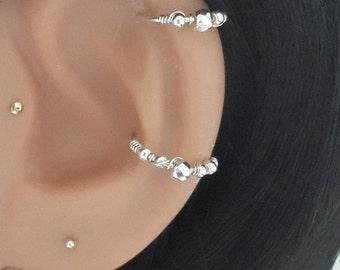 16g 18g 20g 22g  925 Sterling Silver Beaded  Conch Ring, Conch Ring , Conch Jewelry, Conch Hoop, Conch Piercing , 11-16mm Inner Diameter