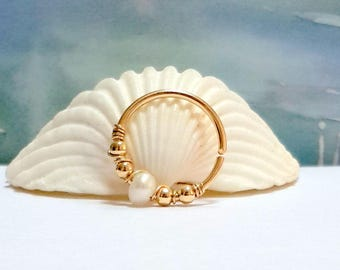 Freshwater Pearl Conch Ring,  Gold Conch Hoop, Conch Jewelry, Conch Piercing ,16g 18g 20g 22g,Bridesmaid Gift, Mother's Day Gift, Gift Ideas