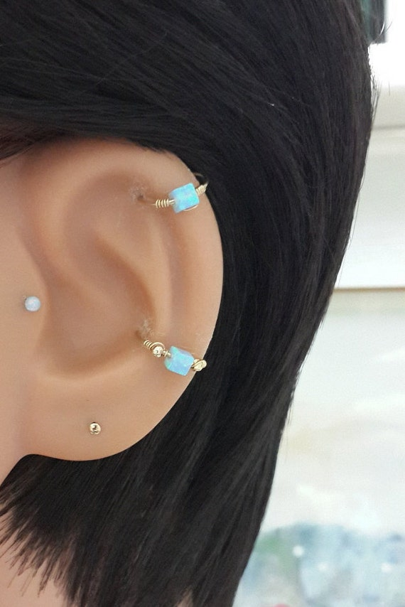 Fire Opal 2-3mm 16g 18g 20g 22g Silver Helix Piercing,Tiny Nose Hoop,Daith,Tragus Ring,Conch Jewelry,October/'s Birthstone,Christmas Gift