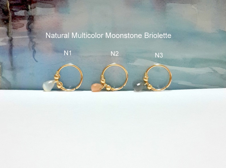 Natural Multicolor Moonstone Briolette Helix Piercing-16G 18G 20G 22G-Gold Tragus Hoop-Nose-Septum-Conch Ring-Holiday Gift-Galaxy Jewelry