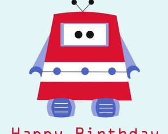 Red Robot Birthday Card