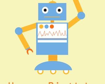 Blue Robot Birthday Card
