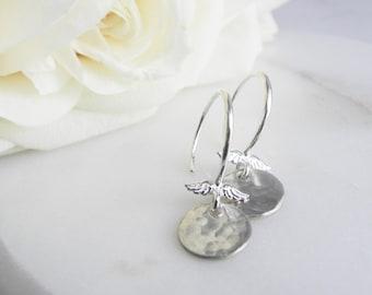 Disc Hoop Earrings, Small Dangle Earrings, Silver Disc Hoops, Hammered Earrings, Textured Disc Earrings, Silver Wings Earrings, Small Gifts