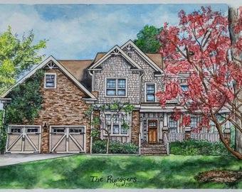 Custom House Portrait, House Portrait, Watercolor Painting, House Painting, Painting, Watercolor, Custom Portrait, Gift, New Home, 5x7
