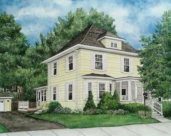 Custom House Portraits, Custom Watercolor, House Painting, Watercolor Painting, Custom Building, Watercolour House Painting, House Portrait