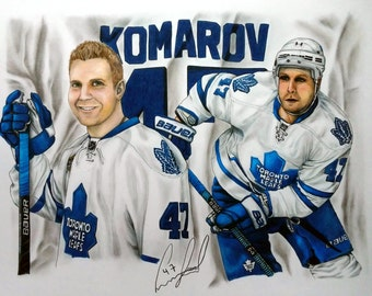 CUSTOM PORTRAIT, Sports Collage Portrait Drawing, Sports Gift, Toronto Maple Leafs, Hockey, Father's Day, Pencil Portrait, Pencil Drawing