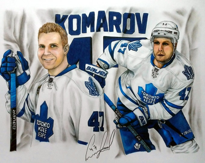 Featured listing image: CUSTOM PORTRAIT, Sports Collage Portrait Drawing, Sports Gift, Toronto Maple Leafs, Hockey, Father's Day, Pencil Portrait, Pencil Drawing