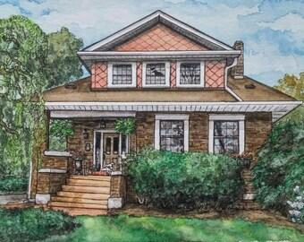 Custom Watercolor Portrait, House Portrait, Watercolor Painting, House Painting, Custom Painting, Custom Portrait, Housewarming Gift, House