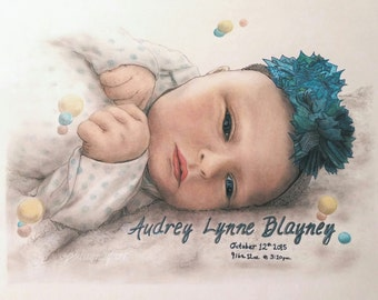 Custom Baby Portrait, Custom Drawing, Monogram Baby Gift, Baby Shower Gift, Christmas Gift, New Baby Portrait