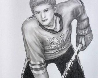 Graphite Pencil Portrait, Custom Portrait Drawing, Sport, Custom Family Portrait, Custom Hockey Gift, Custom Drawing, Childrens Portrait