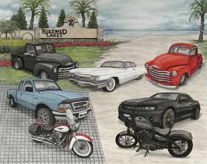 Featured listing image: Custom Portrait Painting, Custom Car Painting, Custom Order, Cars, Vehicles, Custom Watercolour Art, Watercolor Painting, Art Commission