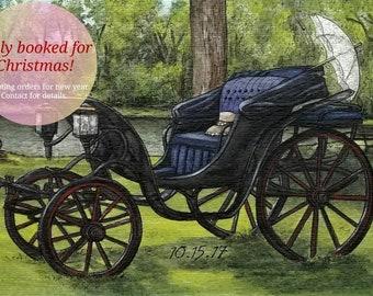 Custom Watercolor Painting, Custom Watercolour Portrait, Antique Carriage, Custom Church Wedding, Custom Portrait Painting, Wedding Gift
