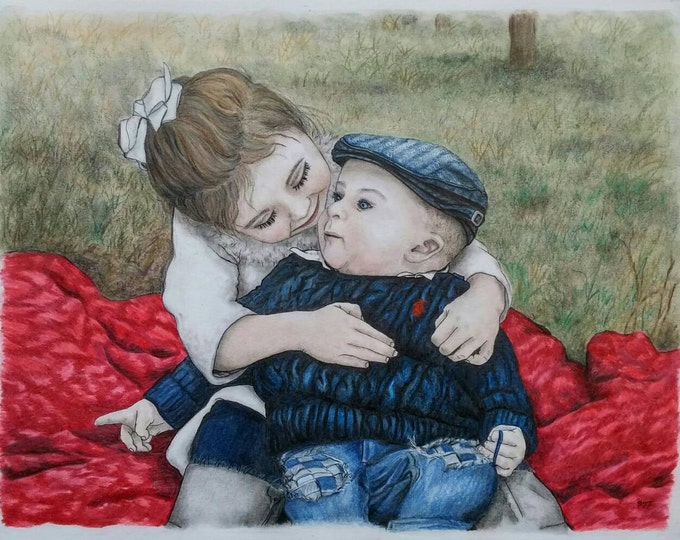 Featured listing image: Custom Baby Portrait, Custom Family Portrait, Color Pencil Portrait, Portrait Drawing, Pastel Portrait, Pencil Portrait, Mothers Day Gift