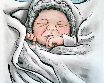 Custom Portrait, Baby Portrait, Illustration, Baby Shower, Christmas Gift, Custom Drawing, Ink Portrait
