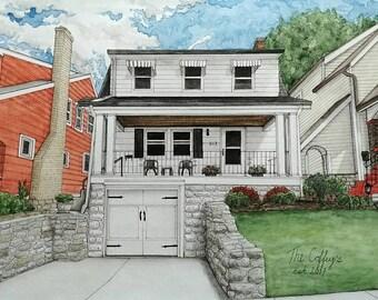 CUSTOM HOUSE PORTRAIT, Watercolour Painting, House Painting, Watercolor Portrait, Realtor Customer Gift, Custom Painting, Housewarming Gift