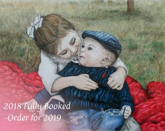 Custom Baby Portrait, Custom Family Portrait, Color Pencil Portrait, Portrait Drawing, Pastel Portrait, Pencil Portrait, Mothers Day Gift