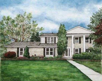 Custom House Portraits, House Painting, Watercolor House Portraits, Custom Building, Watercolor Painting, House Portrait, Commissions, Gift