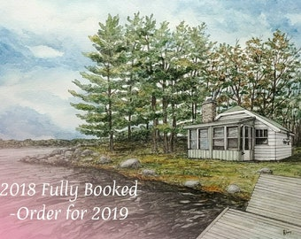 Custom Watercolor Painting, Custom Order, Cottage Painting, Commissioned Watercolour, Gift Idea, Custom House Portrait, House Painting
