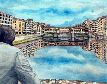 Custom Watercolor Paintings, Custom Portrait, Watercolour Painting , Custom Watercolor, Watercolor Portrait, Cityscape painting, Italy