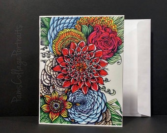 Greeting Cards, Printed Cards, Hand Drawn Design, Zentangle Design, Blank Greeting Cards, 4x5 Greeting Cards with Envelopes, Packs of 5