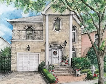 Custom House Portrait, House Painting, House Portrait, Watercolor House Painting, Custom Building, Painting Of House, Custom Watercolor Home