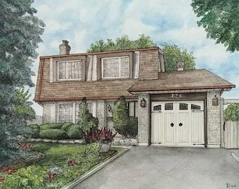 Custom House Portrait, House Painting, Retirement Gift, Watercolor Portrait Painting, Painting, Custom House Painting, Housewarming