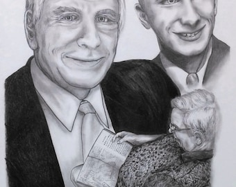 GRAPHITE PORTRAIT, Memorial Collage Drawing, Fathers Day, Heritage Gift, Collage Drawing, Custom Drawing, Graphite Portrait, Pencil Portrait