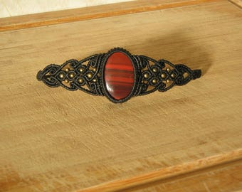 macrame bracelet with stone semi precious red Tiger eye