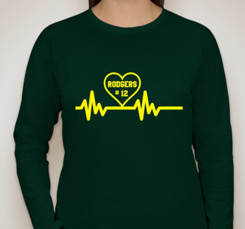 76a566fa Aaron Rodgers Heartbeat Packers Football Long Sleeve shirt | Etsy