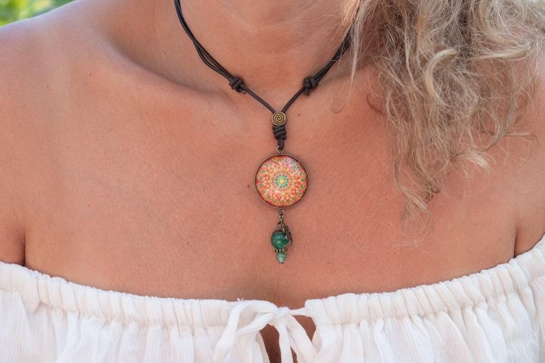 Dainty flower necklace Self care necklace Kaleidoscope necklace Custom charm necklace Sacred geometry art Crystal necklace