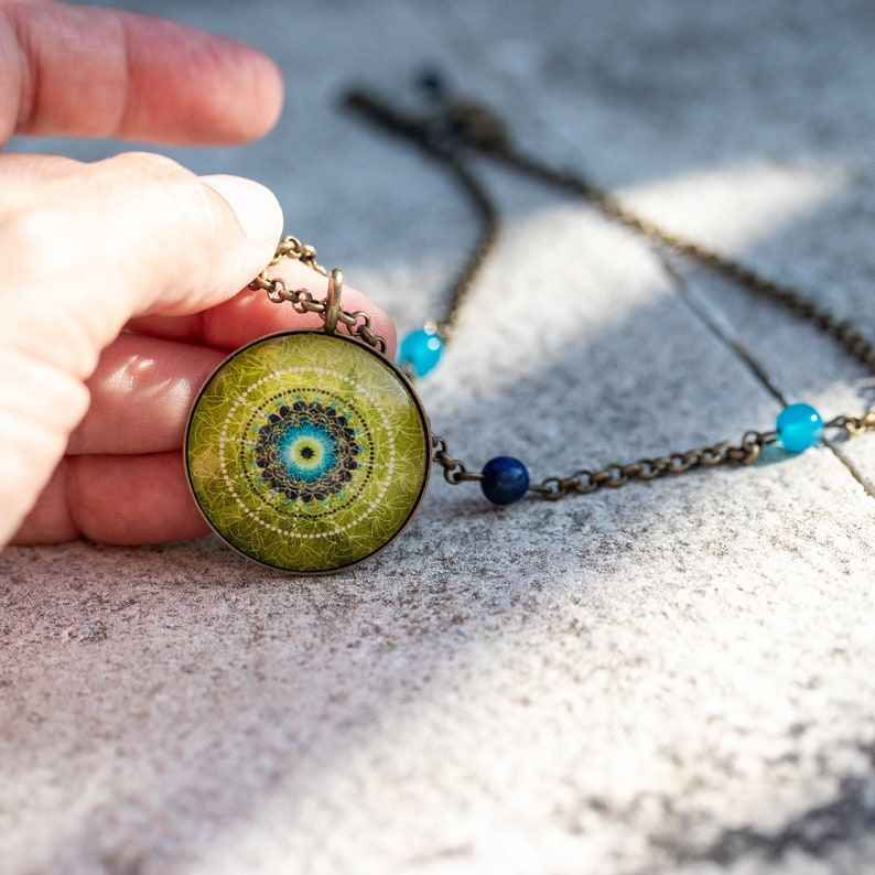 Meaningful Necklace EARTH MANDALA Necklace Meaningful Gifts image 0