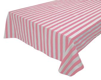 Gentil Cotton Table Cloth Stripes / Lines 1 Inch Stripes Pink U0026 White