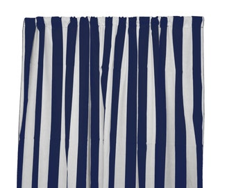 Navy And White Striped Curtains Etsy