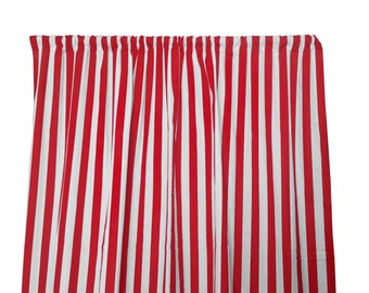 Cotton Curtain Panel Striped Lines 1 Inch Stripes Red White Window Decor Treatments Backdrop