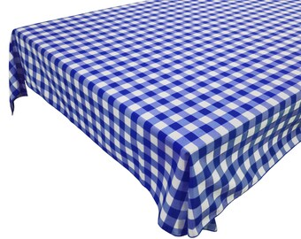 Cotton Table Cloth Woven Gingham Check Blue