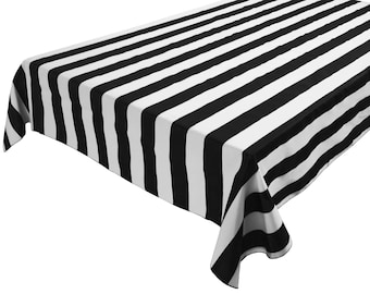 Perfect Cotton Table Cloth Stripes / Lines 2 Inch Large Stripe Black White
