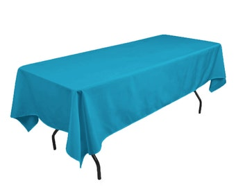 Solid Table Cloth Durable Thick Polyester Machine Washable, Dining Room  Holiday Decor Turquoise