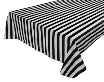 Cotton Table Cloth Stripes / Lines 1 Inch Stripes Black White