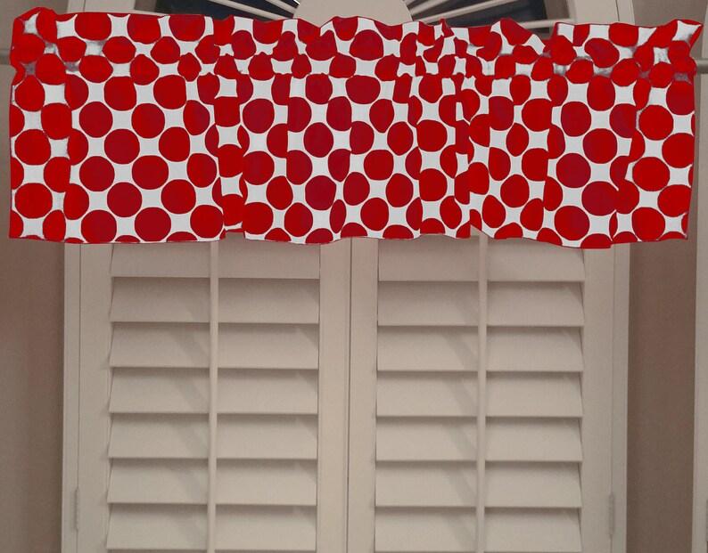 Cotton Valance Polka Dots /& Spots Large Dot Red on White  Window Decor  Window Treatments